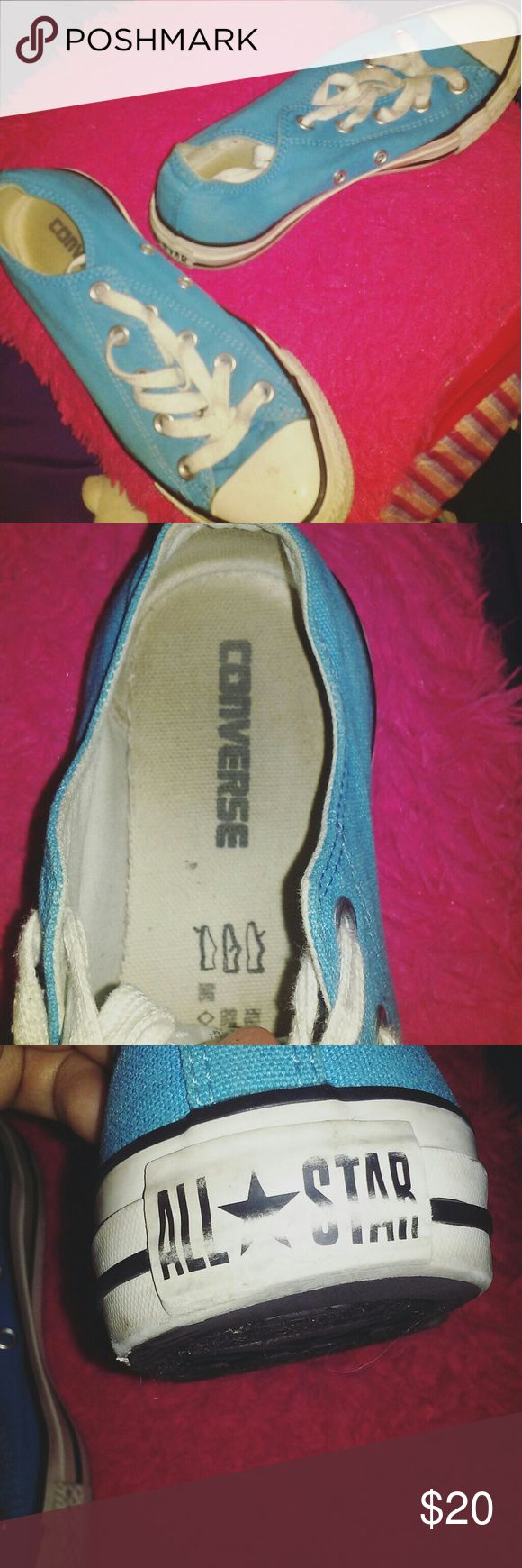 ALL STAR CONVERSE WORN A couple times  Dirty alittle inside and out havent cleaned them but if brought will replace shoelaces.  Still has alot of life left in them. Free gift included!   Color (Baby blue)  TRUE TO SIZE  WOMENS 6 MENS 4 Converse Shoes Sneakers