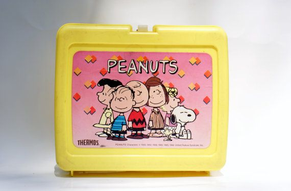 Vintage Lunchbox Yellow Peanuts Lunchbox by DoorCountyVintage, $20.00