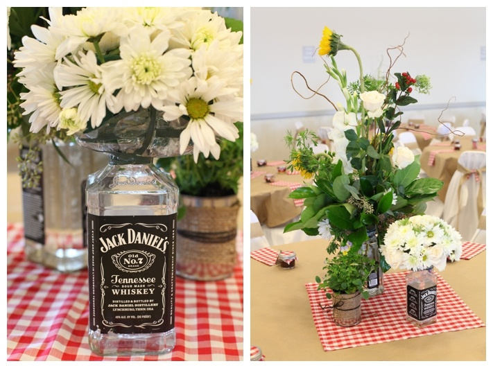 Jack daniels flower vases our country bbq wedding