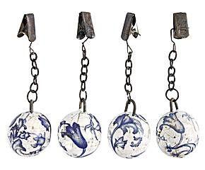 Set de 4 pesas para mantel en cerámica y metal Mayo – blanco y azul