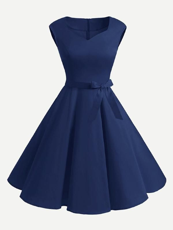 V Neckline Flare Dress With Belt Trend Selected Pinterest Products