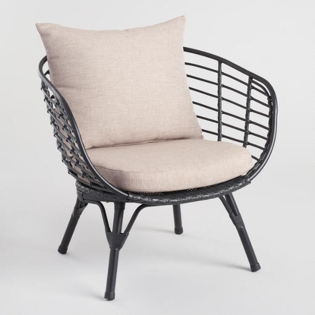 Black All Weather Wicker Negril Outdoor Occasional Chair - v1