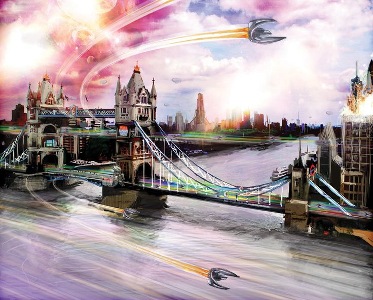 Fantasy London art,  London canvas art, fantasy art, surrealism art, futuristic art, Picture of London by StudioViali on Etsy