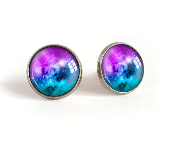 Galaxy stud earrings, blue space image cabochon post earrings, nebula picture studs, universe photo earrings, glass dome blue galaxy jewelry