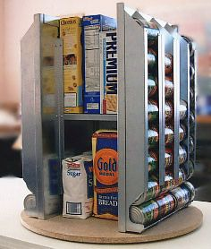 Lazy Susan for the corner in a pantry - holds cans, and can have an inner shelf for pastas, etc.