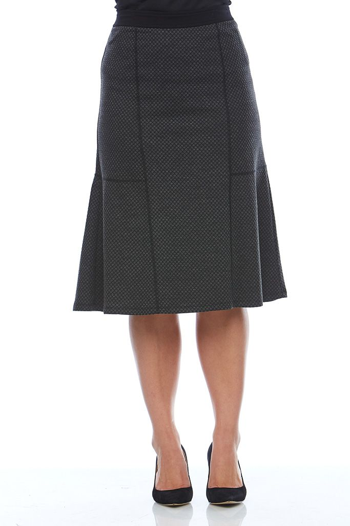 SURFACE INTEREST SKIRT Style a sophisticated look with this textured Noni B skirt. Featuring a black waistband & back zip fastening, this polished style works best with a simple blouse & heels.
