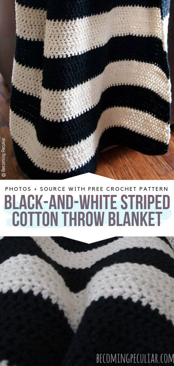 Black And White Crochet Free Patterns Cotton Crochet Patterns Cotton Blanket Crochet Striped Crochet Blanket