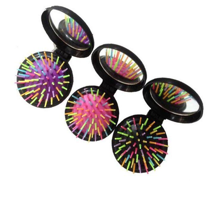 1 pcs folding haar borstel willekeurige kleuren regenboog reizen ronde pocket kam met spiegel kam bo