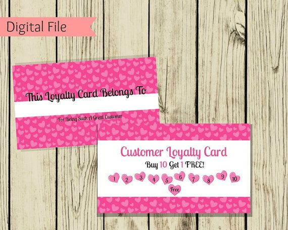 ♥Listing is for a digital file only ♥  These cute loyalty cards are a great way to show your customers how much you appreciate them and keep them coming back for more!  ♥You will receive both JPEG and PDF files (front and back). You will also receive a full sheet of front and back, that you can print from home and simply cut the design out.  ♥ Standard business card size  -----Please Note----- ♥Listing is for a digital file only ♥No physical paper cards or products will be mailed to you…