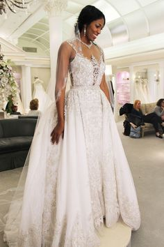 Ysa Makino (detachable skirt) This is so beautiful. This amazing woman is a war veteran and has an inspiring story. Kleinfield gave her the dress, vale, shoes, head piece, earrings and a  night's stay at a 5-star hotel.  Randy's VIP Treatment SAY YES TO THE DRESS SEASON 14 EPISODE 5