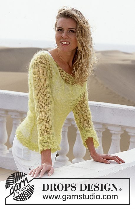 88-23 Pullover in Vivaldi. желтый. mohair. пуловер. pullover.  Drops 88-23 (2001). спицы. woman. мохер. язык русский)...