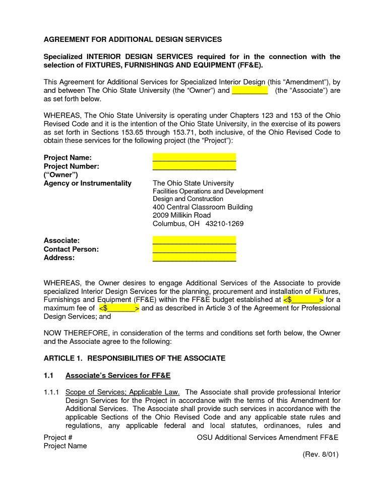 Standard Form Of Agreement For Interior Design Services 25 Unique