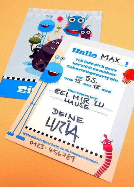 Einladungskarten - Monster-Einladungen (10 Stk.) - ein Designerstück von Pia-Kolle bei DaWanda