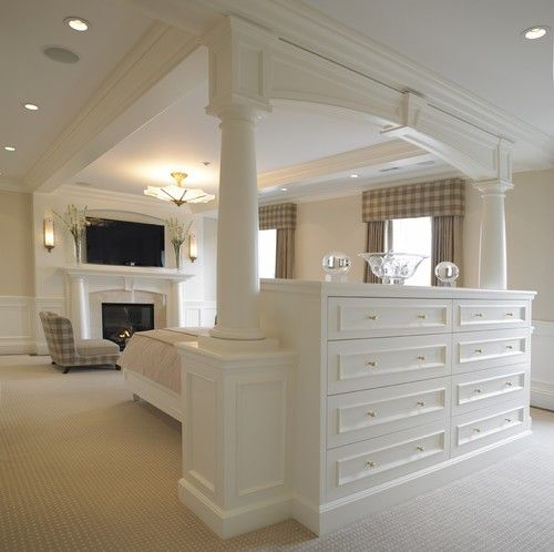 (via Master Bedroom Dreams / built-in dresser with back that serves as the headboard for the bed.)
