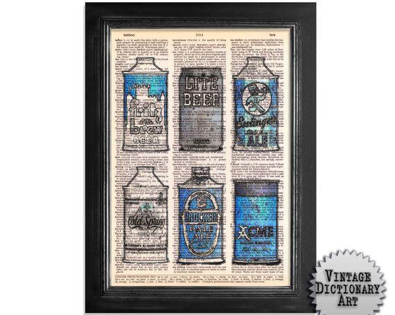 Vintage Blue Beer Can Art - Upcycled Vintage Dictionary Paper Art Print - 8x10.5 beer art
