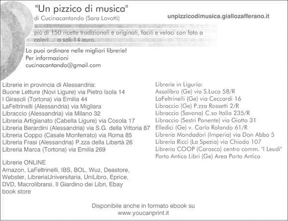Il nuovo libro Un pizzico di musica nelle librerie italiane