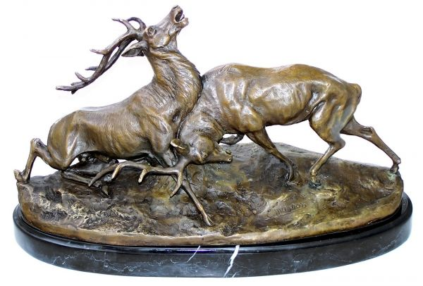 Animal Bronze, Deer are fighting, on marble base, Artist ...