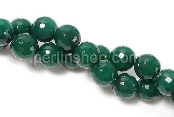 Natürliche grüne Achat Perlen, Grüner Achat, rund, facettierte, 16mm, Bohrung:ca. 2mm, Länge:ca. 15 Inch
