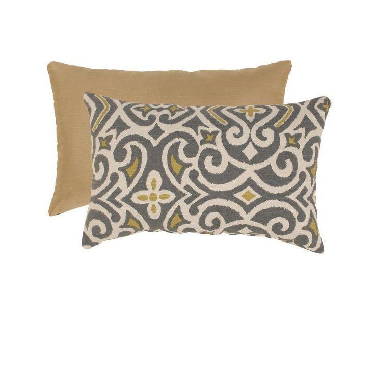 Pillow Perfect Gray and Greenish-Yellow Damask Rectangular Throw Pillow - 475097