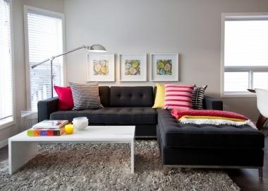 Black Sofa Colorful Pillows Small Living Room Design Black Sofa Living Room Funky Living Rooms