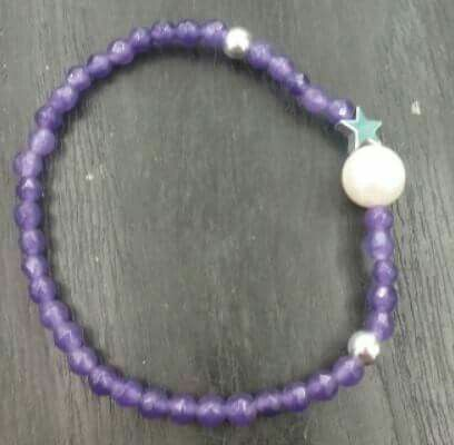 Pulsera de piedras naturales con perla de agua dulce