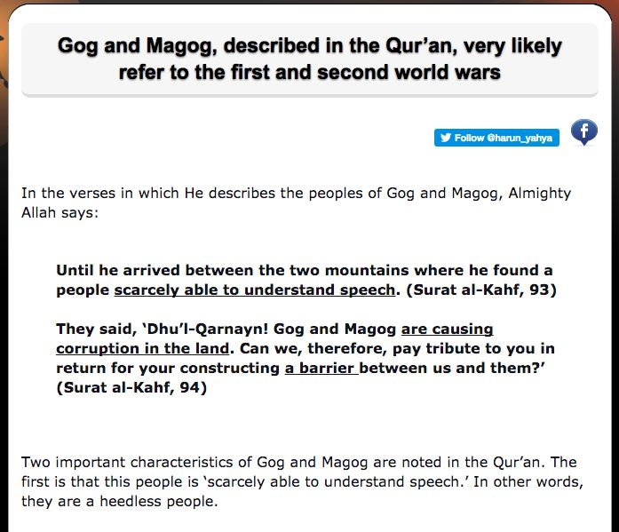 Gog and Magog, described in the Qur'an, very likely refer to the first and second world wars