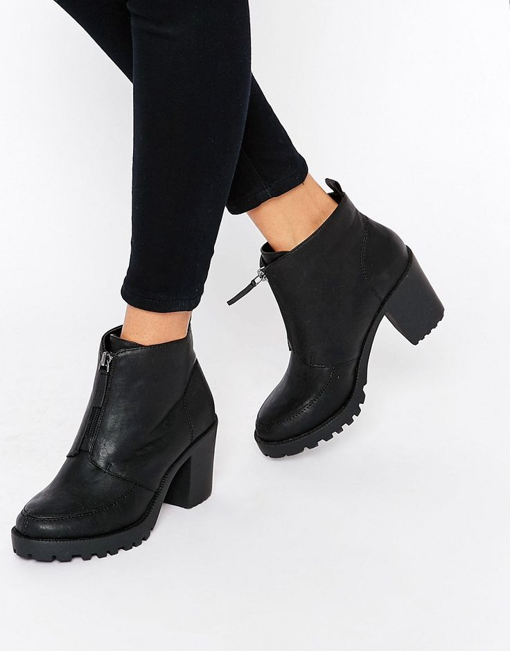 London+Rebel+Zip+Front+Chunky+Heeled+Ankle+Boots
