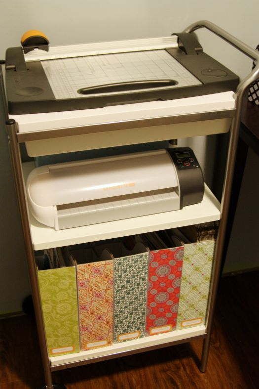 IHeart Organizing: Studio Workspace - Ikea BYGEL Utility Cart ($29.99) used as a paper storage/cutting station. Excellent budget-friendly idea!