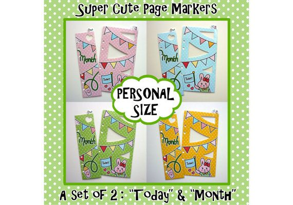 """SIZE: PERSONAL Cute Kawaii Bunny Page Markers for Filofax """"Today"""" """"Month"""""""