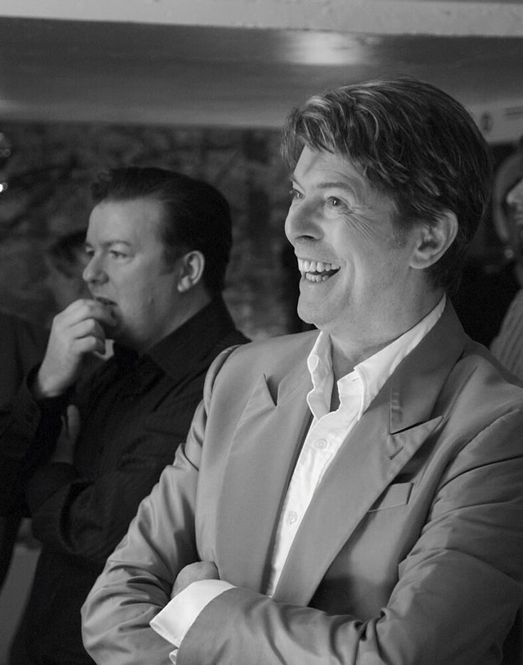 David Bowie with Ricky Gervais