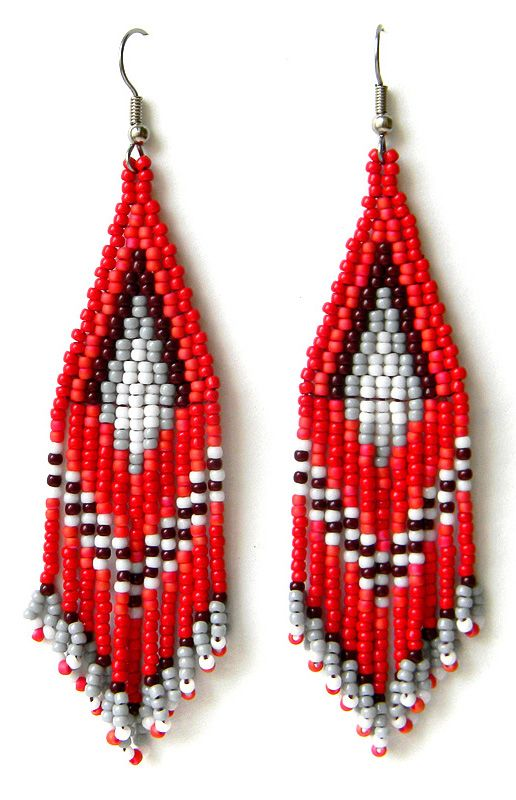 длинные серьги из бисера, украшения из бисера, красные серьги ручной работы, red beaded earrings, beadwork, beadweaving, beadwoven earrings, red seed bead earrings, beaded jewelry