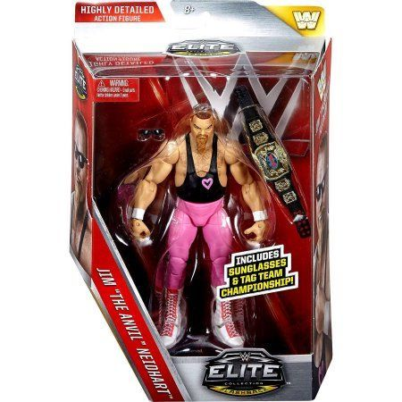 WWE Elite Flashback Hart Foundation Jim Neidhart Figure, Multicolor