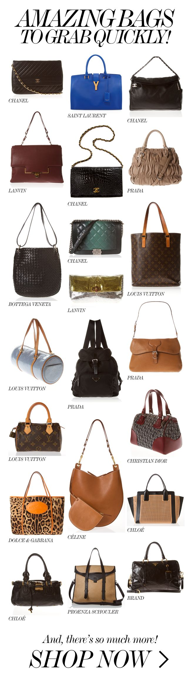 AMAZING DESIGNER BAGS // Chanel, Saint Laurent, C�line, Louis Vuitton more.