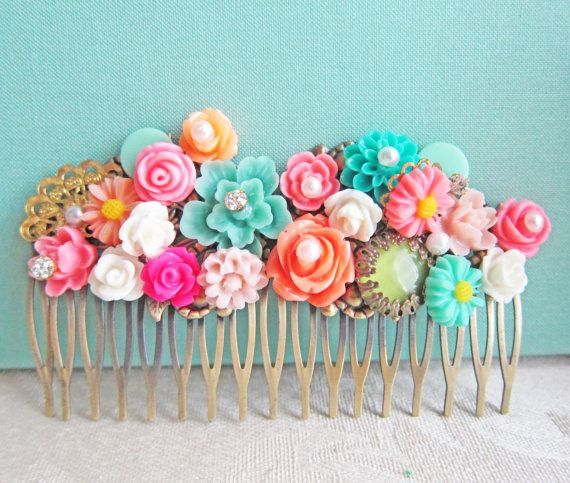 Neon Colors Bridal Hair Comb Shabby Chic Wedding Hair Comb Coral Aqua Turquoise Orange Hot Pink by Jewelsalem