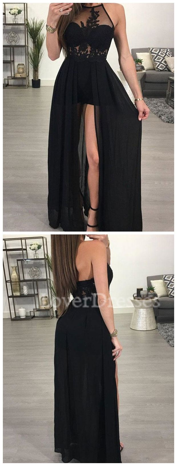 Sexy Black Lace See Through Evening Prom Dresses, Long Black Party Prom Dress, Custom Long Prom Dresses, Cheap Formal Prom Dresses, 17055