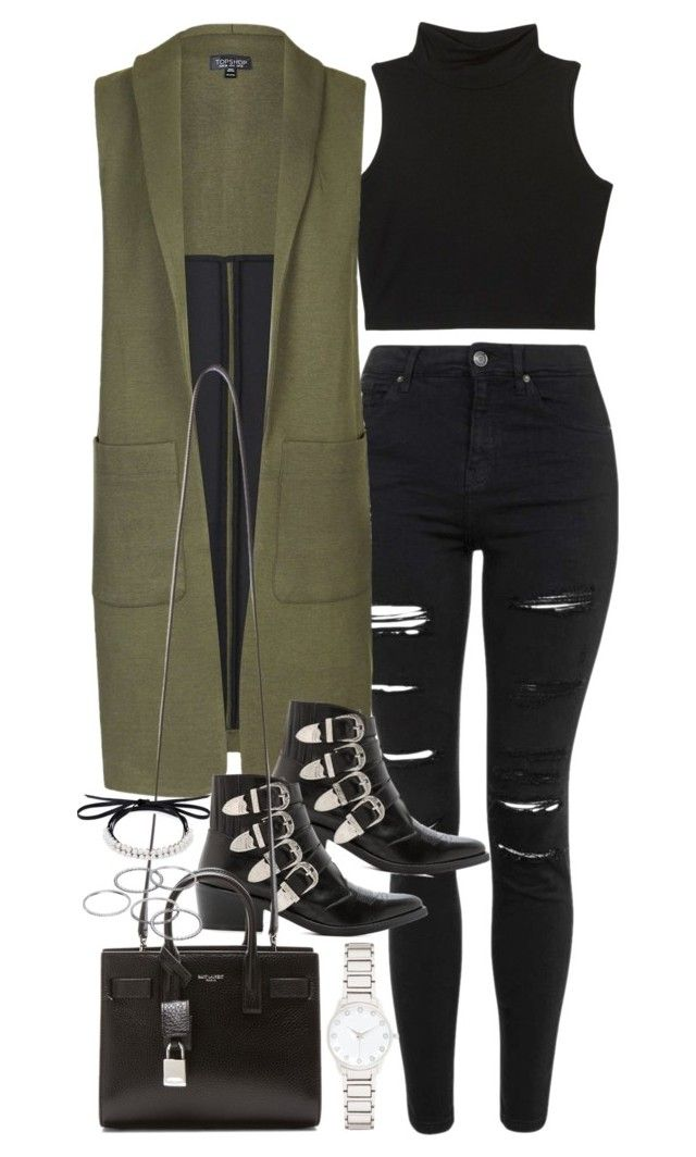 """""""Outfit for spring with a long vest"""" by ferned on Polyvore featuring Topshop, Toga, Yves Saint Laurent, Fallon, Apt. 9 and Forever New"""