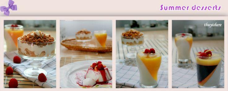 Summer desserts: Panna cotta, mousse, Tilslorte Bondepiker