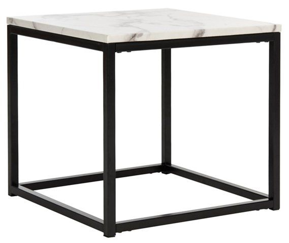 Cuevas Side Table White Gray Side Tables Living Room Furniture One Kings Lane Contemporary End Tables Marble End Tables End Tables