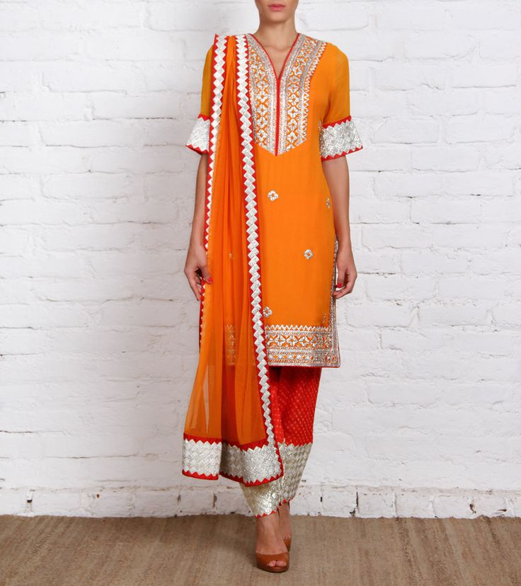 Orange Georgette Churidar Suit with Gota Work | by Panee