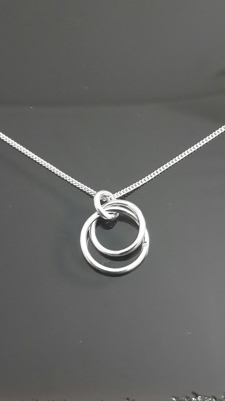 925 sterling silver two circle Interlocking pendant necklace by IsaBellaJewellery on Etsy