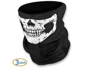 WOVTE Seamless Multi Function Skull Tube Tubular Half Face Mask Headband Headwear Bandana Neck Warmer Black Pack of 3