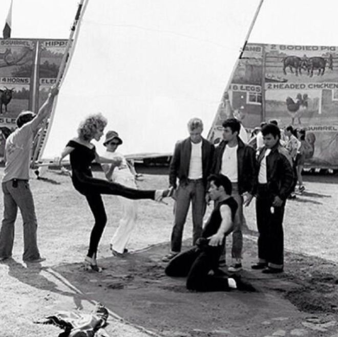 Dance rehearsals on the set of GREASE.