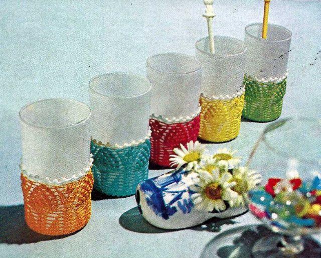 Patrón #1028: Fundas par Vasos aCrochet   CTejidas [Crochet y Dos Agujas]