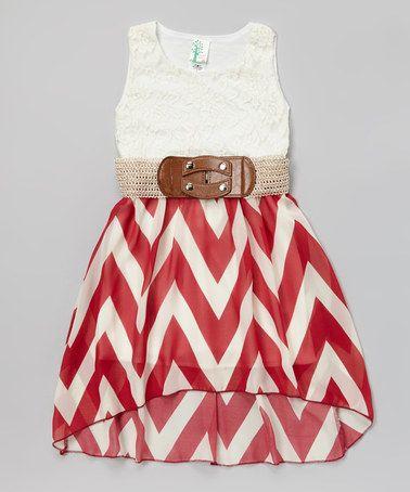 Look at this #zulilyfind! Burgundy Lace Zigzag Belted Hi-Low Dress - Toddler & Girls #zulilyfinds