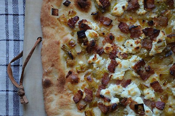 Leek, Bacon and Goat Cheese Pizza, a recipe on Food52