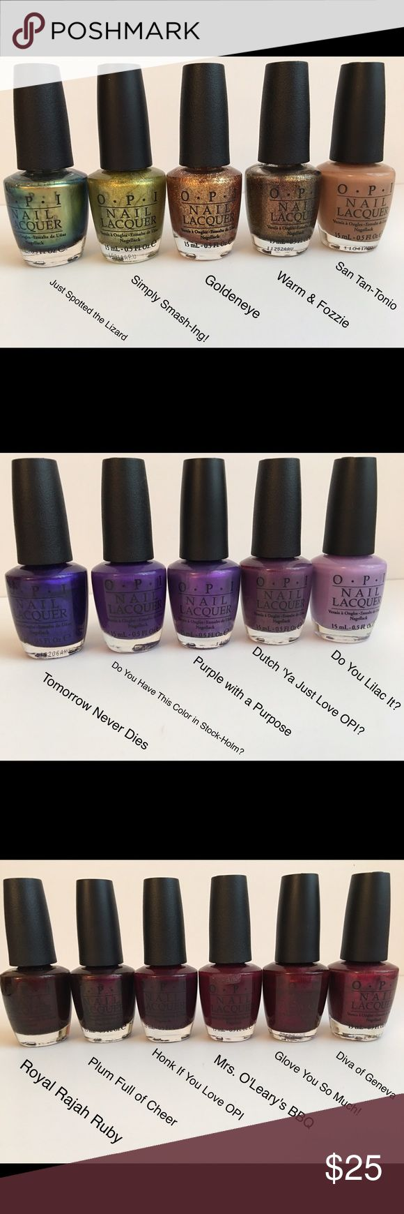 OPI nail polish set Polishes are sold in a set of 5. You get to pick the color. The set of 5 polishes is for $25. OPI Other