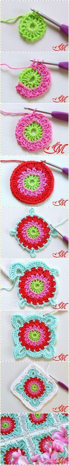 Crochet las flores cuadradas de la abuelita