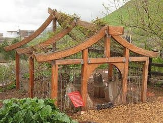 While visiting the Red Butte Children's Garden in Utah last year we came upon the neatest garden ideas for kids. Here is a vine house with logs as furniture.