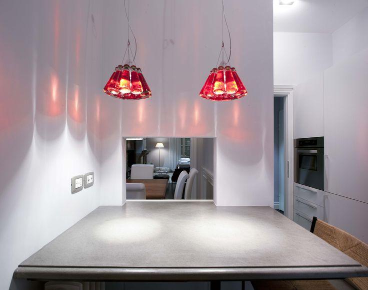 Vimar domotica By-me appartamento a Siena. Cucinino comandi prese TV con la serie Eikon Chrome round metallo