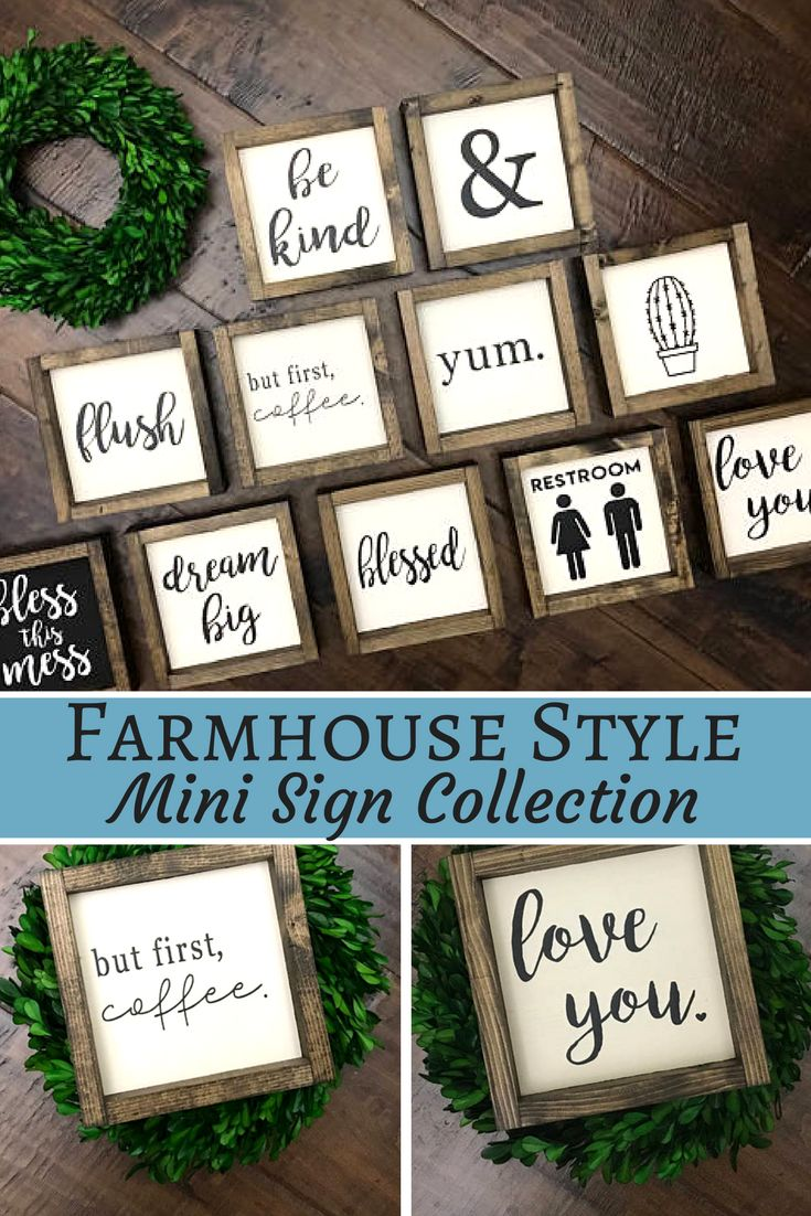 Wood Sign Mini Collection - | Wood Sign | Farmhouse Style Decor | Farmhouse Sign | Love You Be Kind Blessed Yum Dream Big & Bless this Miss and MORE! - farmhouse style - fixer upper look - wood signs - gift idea - gallery wall - but first coffee sign - rustic decor - kitchen decor - bathroom decor - sponsored